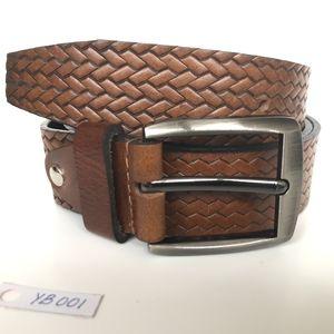 Other - Brown leather belt, embossed, Men's Belt